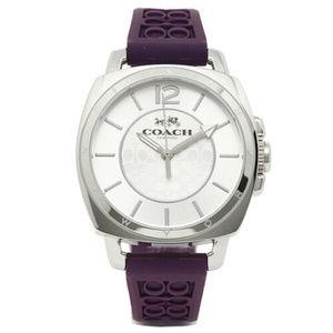 Coach Women Boyfriend Purple Logo-Embossed Watch